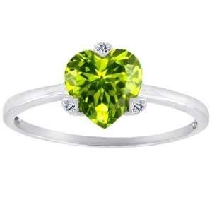 CandyGem 14k Gold Genuine Heart Shape Peridot and Diamonds