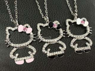 3x black white pink bowknot hello kitty cat swarovski crystal BFF
