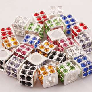 Colorful Silver Rhinestone Crystal Cubic European Beads Fit Bracelets