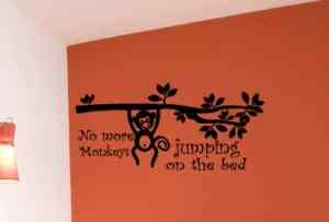 NO MORE MONKEYS JUMPING ON HE BED Vinyl Wall Ar A |