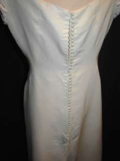 VTG 1967 60S SILK EMPIRE WAIST WEDDING GOWN DRESS + LONG TRAIN BUST 37