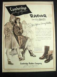1946 Vintage Cambridge Boots Raincoat Illustrated College Girls at