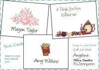 Personalized NOTE CARDS WHIMSY FLORAL STATIONERY