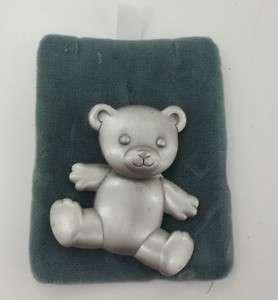 VTG BROOCH PIN JJ PEWTER BIG CHUNKY TEDDY BEAR SATIN