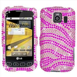 Pink Zebra Bling Hard Case Cover for LG Optimus V VM670 Virgin Mobile
