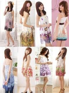 Womens Hippie BOHO Exotic Summer Floral Prints Chiffon Dress Multi