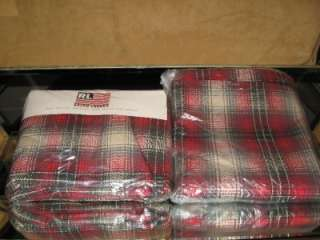 New RALPH LAUREN Red Granger Plaid QUEEN Flat Sheet & Full Flat Sheet