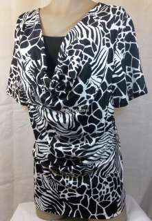 Brittany Black Womens Plus Size Clothing Black White Shirt Top Blouse
