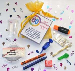 Personalised 80th Birthday Survival Kit Gift Card