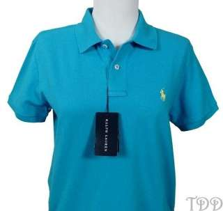 NWT Womens Ralph Lauren Classic Fit Blue Polo Shirt M