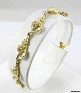 SHELL BRACELET   Solid 14k Yellow Gold Fine Estate 7 Chain Sea Shell