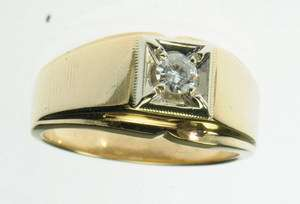 14K SOLID YELLOW GOLD SOLITAIRE ROUND DIAMOND BAND ESTATE RING J209035