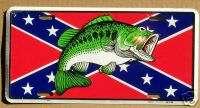 REBEL FLAG   BASS LICENSE PLATE   FISHING TAG