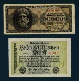 500,000 GREECE DRACHMAI + 10 MILLION GERMAN MARKS NOTES