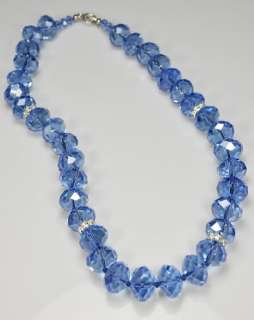 Crystal Glass Blue Faceted 16x12mm Necklace Earring Set