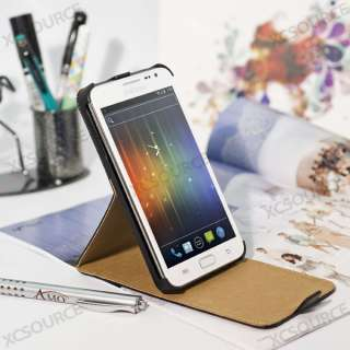For Samsung Galaxy note i9220 black flip PU leather stand case cover