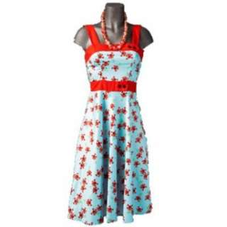 Hell Bunny Kleid CHERRY 50S DRESS lightblue  Bekleidung