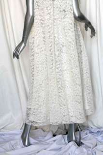 BRIONI RUNWAY White CHANTILLY LACE A Line Gown Trapeze Dress+Slipdress