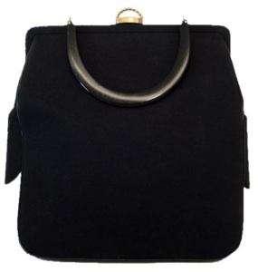Vintage La France Black Wool Knit Handbag 1940'S
