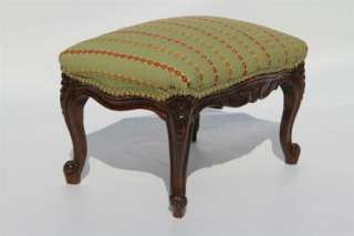 French Louis XV Walnut Foot Stool Newly Reupholstered, Circa 1920s