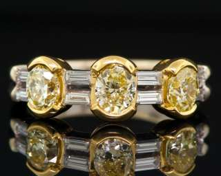 Damiani 18K White Gold Ring with Natural Fancy Yellow Diamonds