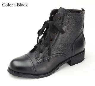 New Womens 6 Eyelet Lace up Leather Combat Ankle Boots