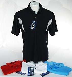 NWT PGA Tour Dry Performance Mens Polo Golf Shirt Black/Red/Blue/White