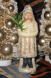 Vintage Style 6 inch Ivory Belsnickle Santa Paper Mache