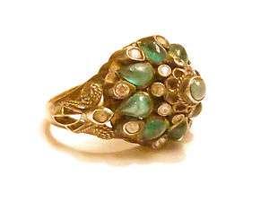 Solid Gold Harem Ring Emerald Cabochon Single Cut Diamonds Dome