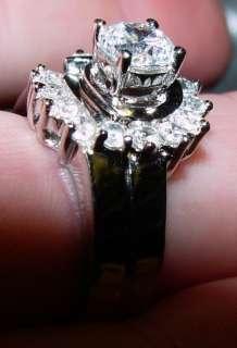 SILVER CUBIC ZIRCONIUM ENGAGEMENT & WEDDING RING SET
