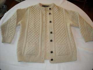 wool fisherman cable knit mens cardigan sweater Ireland Inis Crafts L