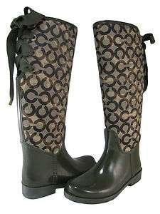 Coach Womens Tristee Olive Green Lace Fashion Designer Knee High Rain