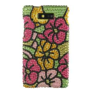 Hawaii Flower Crystal Bling Case Cover Motorola Triumph WX435