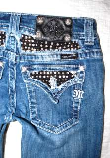 Womens MISS ME jeans 27 bootcut Rhinestone rocker studs black yoke