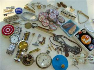 STUFF LOT~VTG JEWELRY~COCA COLA POP CAP~TIE CLIP~COMPASS~WATCH