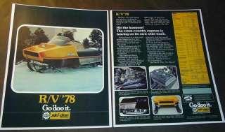 1978 SKI DOO RV SNOWMOBILE SALES FLYER BROCHURE