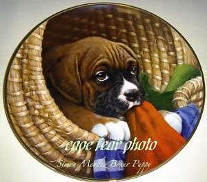SIMON MENDEZ Boxer Puppies LITTLE HELPER Plate Cute!