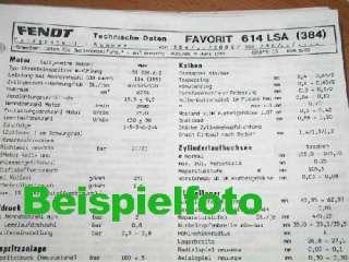 Fendt Farmer 304 LS + LSA Technisches Datenblatt 1985