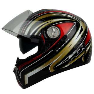 PGR DV100 LINE Black Red Dual Visor DOT APPROVED Motorcycle Full Face