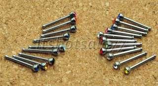 20x Rhinestone Nose Ring Bone Stud Stainless Steel Crystal Body