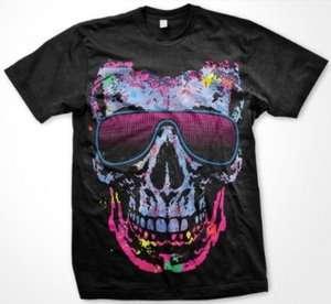 Neon Shade Skull Mens T shirt Big Skull Sunglasses Colorful Designer