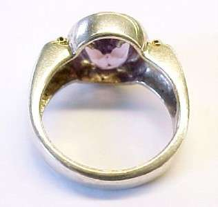 Purple CZ / 18KT Yellow Gold / Sterling Silver Ring ~ 7