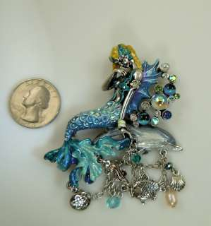 Kirks Folly Dolphin Rider Mermaid Pin / Pendant Enhancer