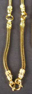 This 22 K yellow gold dipped snake chain is to hold 3 Buddha amulets