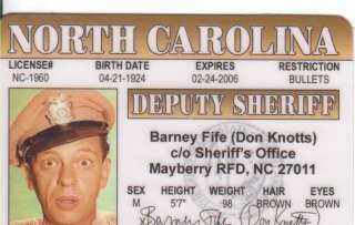 Barney Fife the Andy Griffith Show Plastic Collectors Card or pick