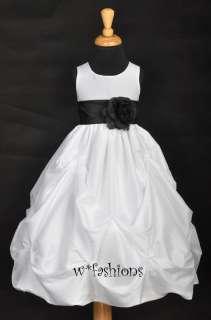 WHITE BLACK SASH WEDDING TAFFETA BRIDAL FLOWER GIRL DRESS 6M 12M 2 4 6