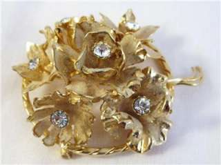 Vintage Made in AUSTRIA Sugar Coated RHINESTONE Gold Tone FLOWER Pin