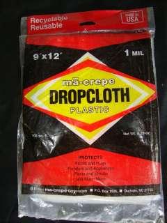 Ma Crepe Clear1Mil Plastic Drop Cloth, 108 Sq. Ft.