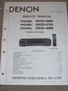 Denon Service/Ops Manual~DCD 580/570/480 CD Player |