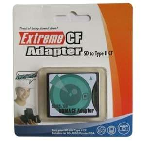 SDHC / SD to Compact Flash CF Type II Card Adapter New